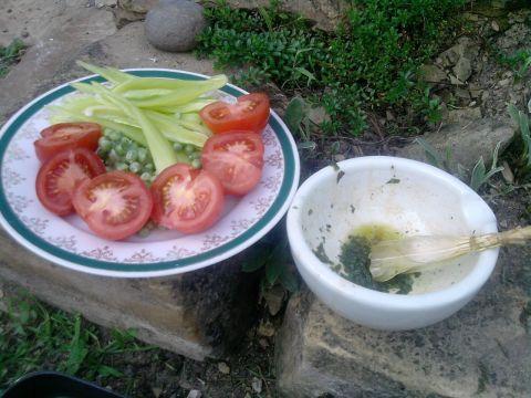 Zeleninu pokrájíme na větší kousky. Zbytek marinády na potírání masa